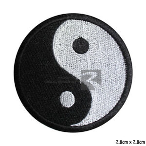 Yin Yang Heat Activator Black&White Iron On Sew On Embroidered Patch Badge