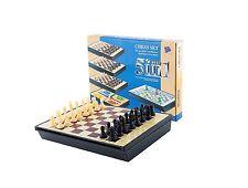 Gioco Chess Set 5in1 Dama Scacchi Tavola Magnetica Dadi Snake 20cm Viaggio dfh