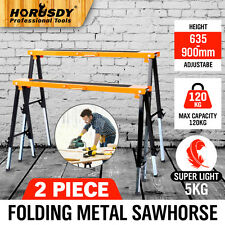 2PC Saw Horse Adjustable Height Metal Folding Non-slip Trestle Work Bench Stands