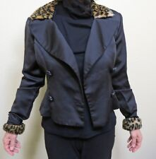 Sexy Black Woman's Cropped Jacket with Leopard Print Collar and Cuffs - Size 6