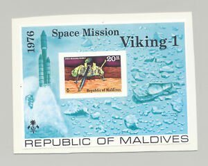 Maldives #661 Space, Viking 1v S/S Imperf Proof Mounted on Card