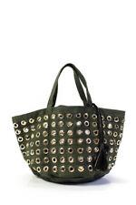 Laurence Bras Womens Gold Tone Grommet Detail Shoulder Handbag Green