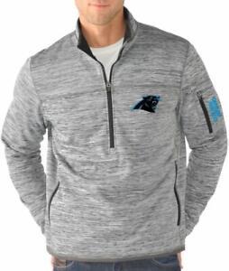 G-III Sports Carolina Panthers Men's Fast Pace Half Zip Jacket - Gray