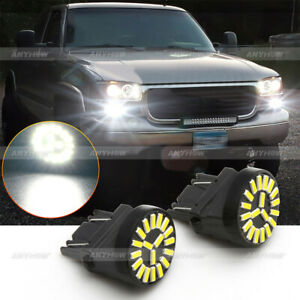 For GMC Sierra 1500 2500 3500 HD White 3157 LED Daytime Running Light DRL Bulbs