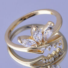 Womens Wedding Infinity Opal Ring Clear clear crystal Yellow Gold plated Size 6
