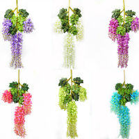 12pcs Artificial Silk Wisteria Garden Hanging Flower Vine Wedding Party Decor