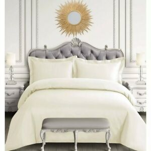Tribeca Living Egyptian Cotton 600 tc Ivory Queen Duvet Cover & Sham set rt $312