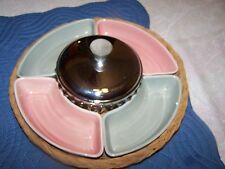 Pink & Gray Lazy Susan Kromex Center Wicker Platter