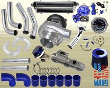 Mit Eclipse/Talon 2G 420A T04E Turbocharger Turbo Kit Blue+Manifold+Bov+Wg+Gauge