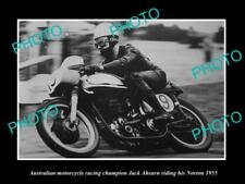 OLD HISTORIC PHOTO OF AUSTRALIAN MOTORCYCLE GREAT JACK AHEARN ON HIS NORTON 1955