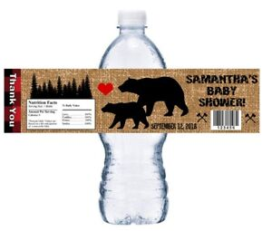 10 LUMBERJACK BLACK BEAR BEARS BABY SHOWER FAVORS WATER BOTTLE LABELS WRAPPERS