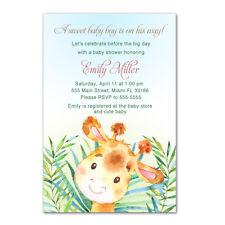30 Printed Invitations Watercolor Giraffe Jungle Baby Boy Shower Painted Animals