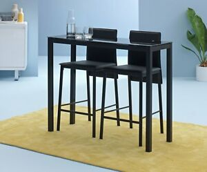 Home Lido Glass Bar Table & 2 Black Chairs
