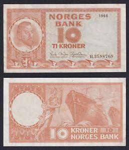 Norvegia 10 kroner 1966 SPL/XF  A-06