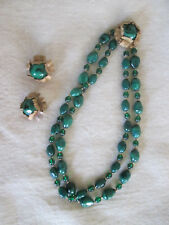 vintage MIRIAM HASKELL Necklace & Earrings Set MALACHITE STONES Gold Plate