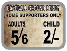 Béisbol terreno Derby Vintage Estilo Letrero Metal fútbol vintage Letrero