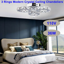 Indoor Modern Crystal Ceiling Chandeliers,3 rings Round Led Fixtures Lamps 36W