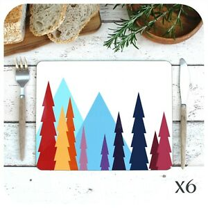 Colourful Scandi Placemats, Set of 6 Scandinavian Modern Table Mats, Hygge Decor