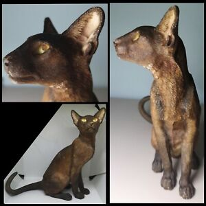 Havana Siamese Cat Figurine Vintage Country Artists Sculpture  Lifelike Ornament