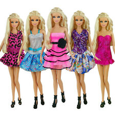 5 Pcs / lot  New Beautiful Handmade Party Clothes Fashion Dress for  Barbie doll
