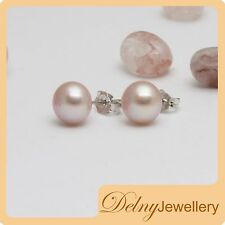 Brand New 925 Sterling Silver Pink Freshwater Pearl Earring Studs 9-10mm Delny