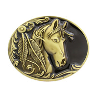 Engraved Horse Head Belt Buckle Western Cowboy Rodeo Buckle