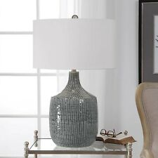 "MODERN URBAN 29"" FELIPE PATTERN CERAMIC TABLE LAMP UTTERMOST NICKEL PLATED METAL"