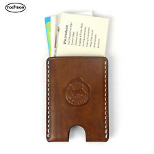 Tourbon Leather Business Card Holder Id Name Card Clip Wallet Case Organizer New
