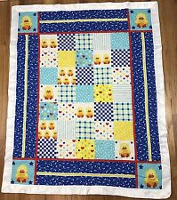Patch Work Quilted Duck Baby Blanket White Satin Silky Edge Quack AG