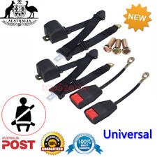 2X Adjustable Universal Retractable Seats Belt 3 Point Auto Cars Lap Belts Black