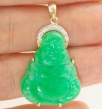 FINE JEWELRY NATURAL GREEN JADE HAPPY BUDDHA SOLID 14K YELLOW GOLD PENDANT ONLY