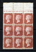 GB Regina Vittoria 1874 1d Red Plate 184 A blocco di nove AG-ci SG 43 Nuovo di zecca & Gomma integra, non linguellato