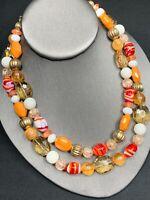 """Vintage glass Beaded 2 Strand  Necklace Orange Citrine Red Gold Color 16"""" Long"""