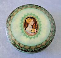 Boite vide ronde en fer blanc sérigraphiée ancienne contenait des bonbons