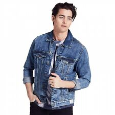 Adam Levine Mens Denim Jacket Blue, Distressed Collar, Cotton, Pick Your Size