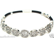 Saint St Benedict Medal Rosary Bracelet Decade prayer protection silver color