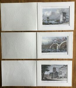 3 Small Antique Lithographic Prints (Engravings) - London Scenes - 1828