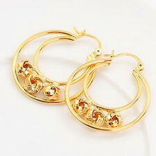 Magic Beads Balls 18k Yellow Gold Filled GF Large Women Solid Hoop Earrings 33MM