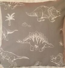 Dinosaur Jurassic Grey and White Handmade cushion cover/pillow case 16 x 16 inch