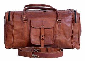 Men's Brown Handmade Vintage Genuine Leather Travel Duffel Luggage  Gym Bag
