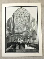 1855 Wells Cathedral Somerset England Architecture Original Antique Print