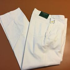 NWT Bobby Jones WHITE Flat Front Designer Golf Pants $89.50 32 x 30