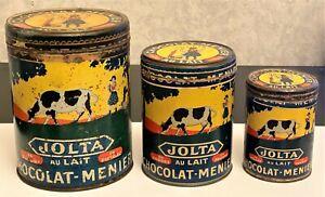 CHOCOLAT MENIER NOISIEL RARE LOT DE 3 BOITES JOLTA  EN POUDRE  1K,  500gr, 250gr