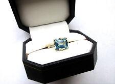10k Yellow Gold Natural 3.4ct Octagon Cut Blue Topaz & Diamond Accent Ring Sz. 7