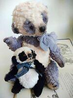 Teddy Big Bear Dino with the toy panda OOAK Artist Teddy by Voitenko Svitlana.
