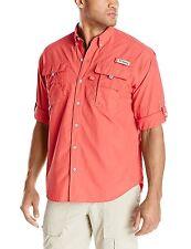 Columbia Mens Bahama II Long Sleeve Shirt, Sunset Red, X-Large
