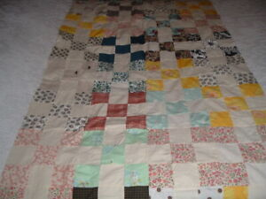 Vtg 1960s Novelty 9 Patch Machine Pieced Quilt Top 35x62 Cutter? for Crafts #PE