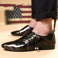 Mens British Dress Pointy Toe Breathable Chic Leisure Faux Leather Wedding Shoes