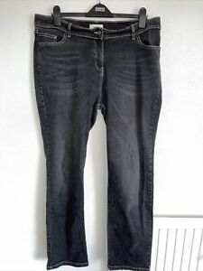 Ladies Quality Black, Stretch, Straight Leg Jeans By M&S. Size 20