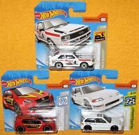 3x Hot Wheels '84 Audi Sport Quatro; Volkswagen Golf GTi; '90 Honda Civic EF MoC